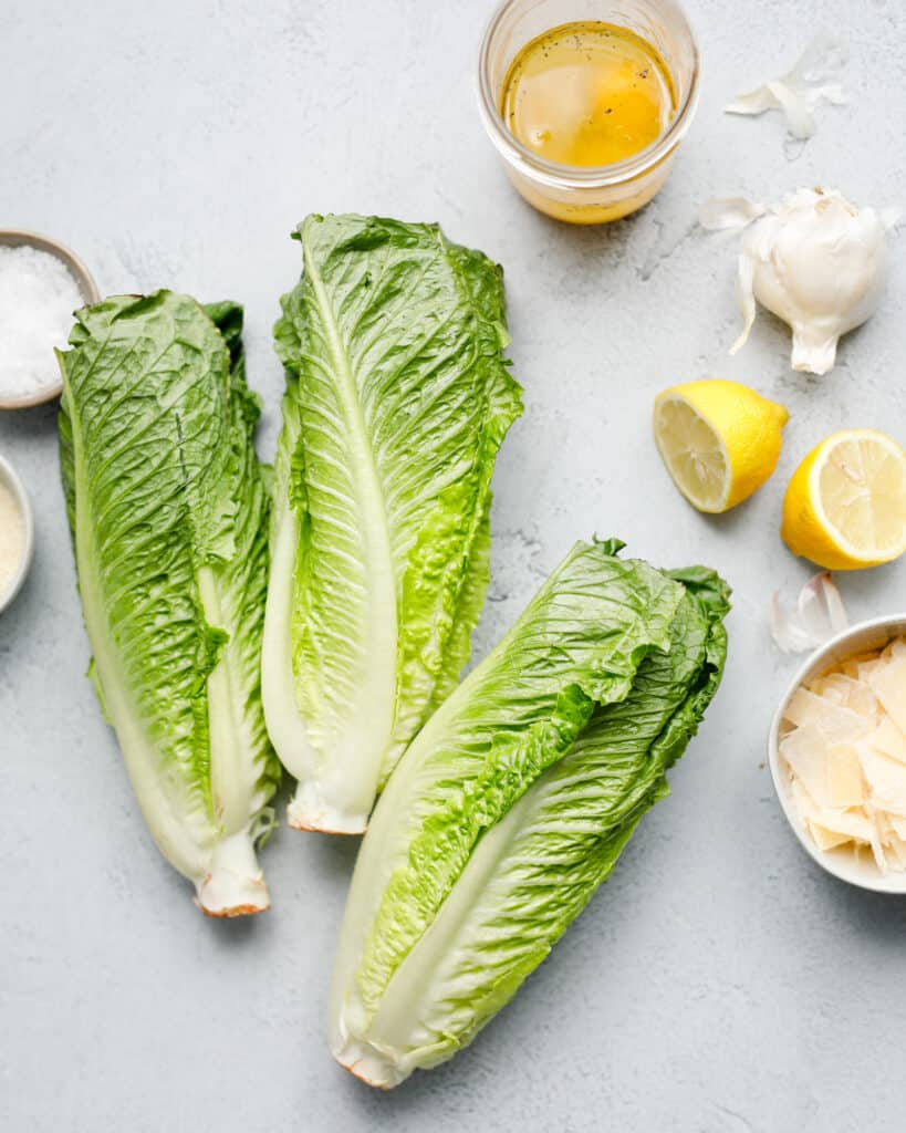 overhead view of Caesar Salad ingredients including romaine lettuce, garlic, lemon, and parmesan cheese