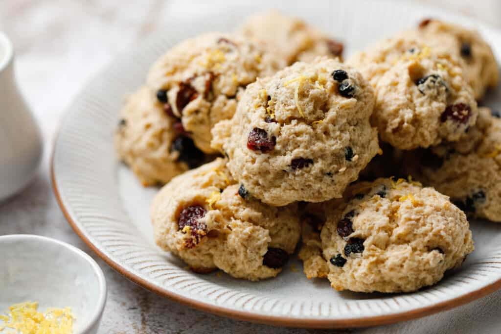 A plate of tasty cookies that are homemade with leftover oatmeal