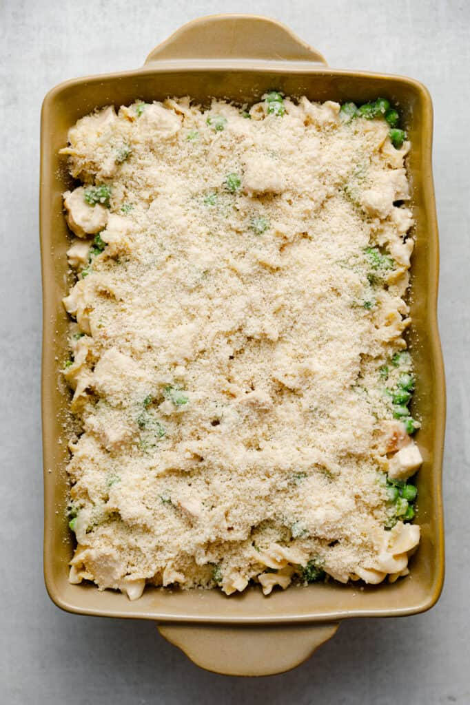 Top your casserole with panko and breadcrumbs for an added crunch