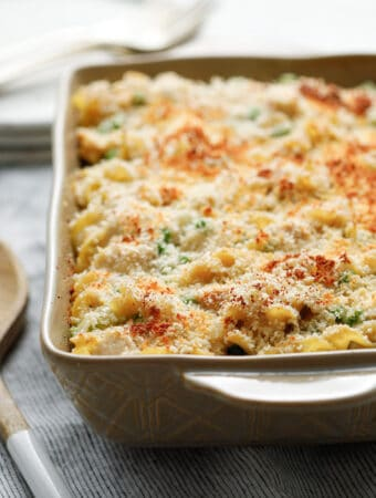 A dish of Chicken Noodle Casserole ready to be served
