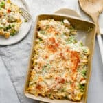 Creamy Chicken Noodle casserole is never dry - served on a plate with a fork