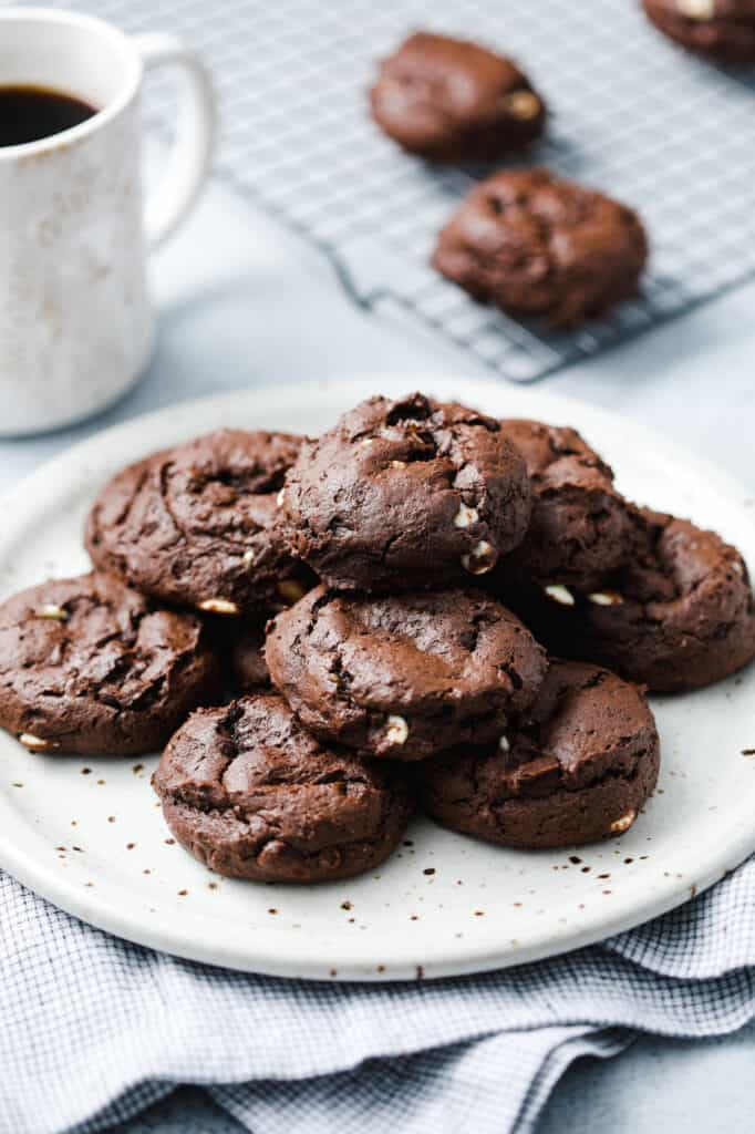 A plate of chocolate cookies with three different kinds of chocolate chips