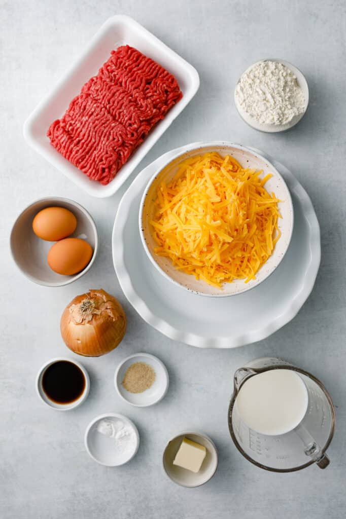 an overhead view of the ingredients to make Impossible Cheeseburger Pie