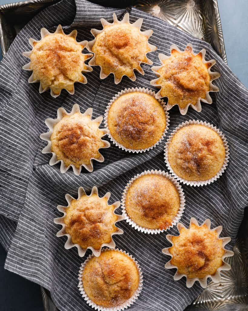 snickerdoodle muffins on a blue napkin