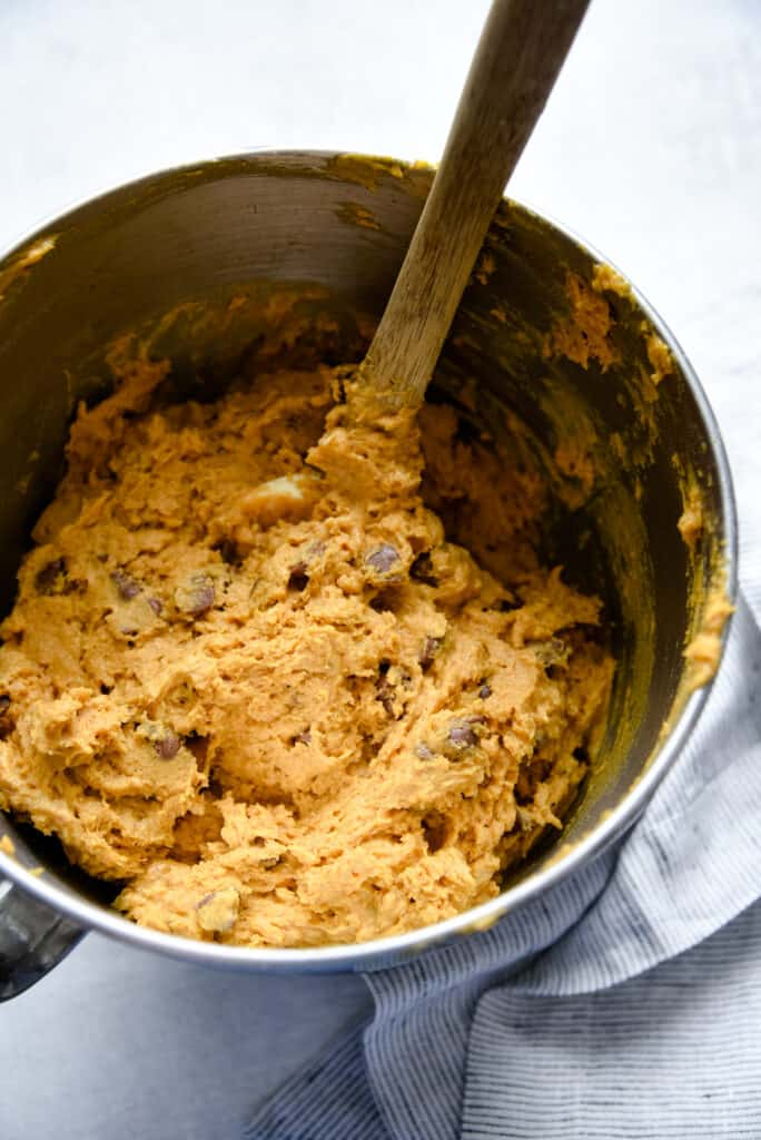 chocolate chip pumpkin cookie dough ready to be scooped