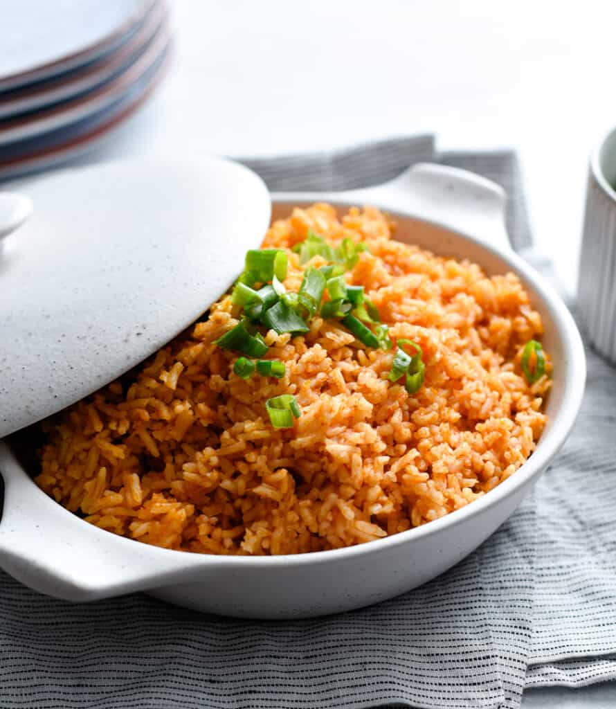 A dish of Mexican Style rice in a serving dish